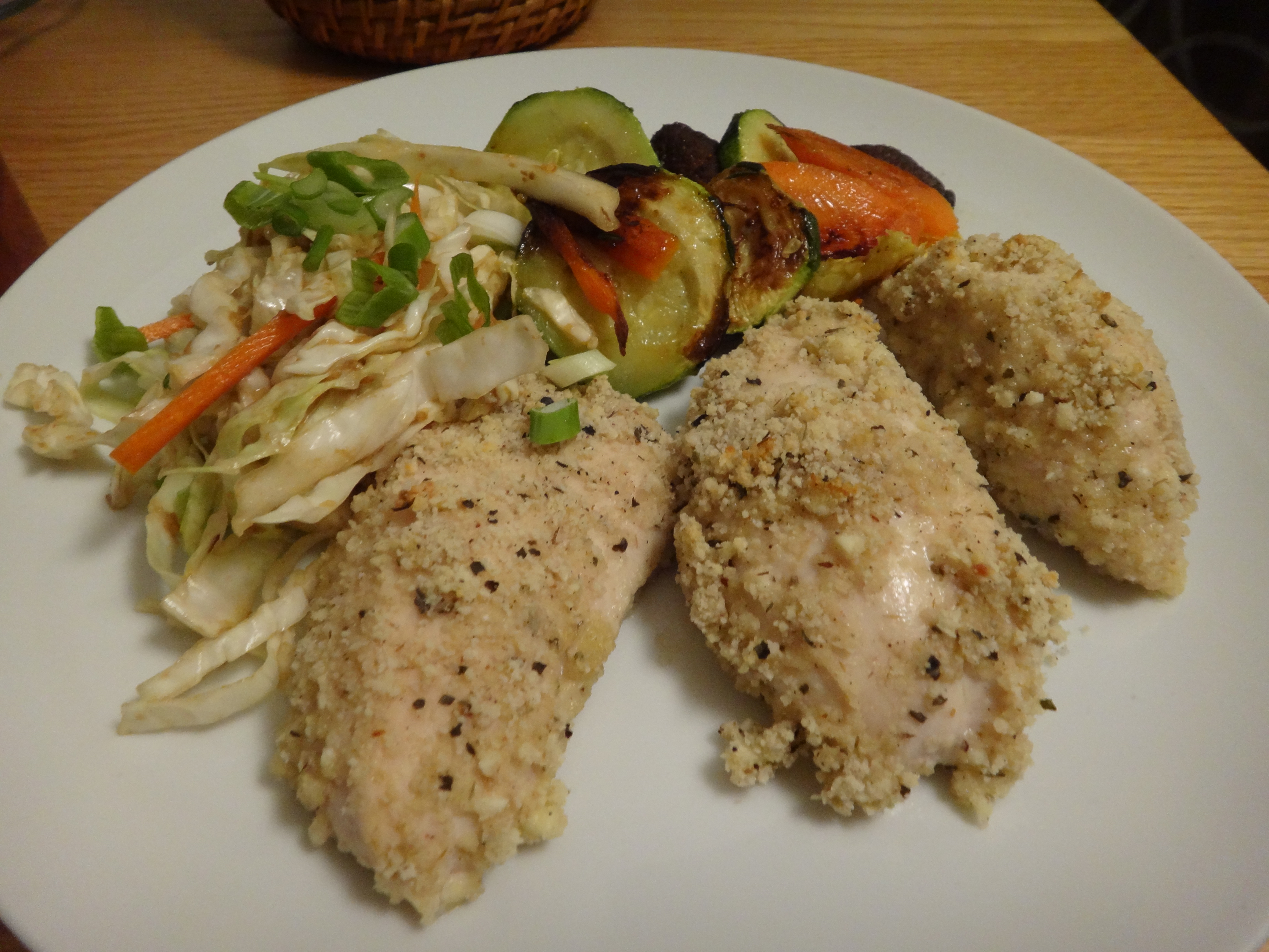 gluten free chicken tenders with cabbage salad with miso-ginger dressing
