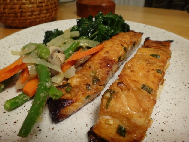 grilled salmon in teriyaki marinade with mirin