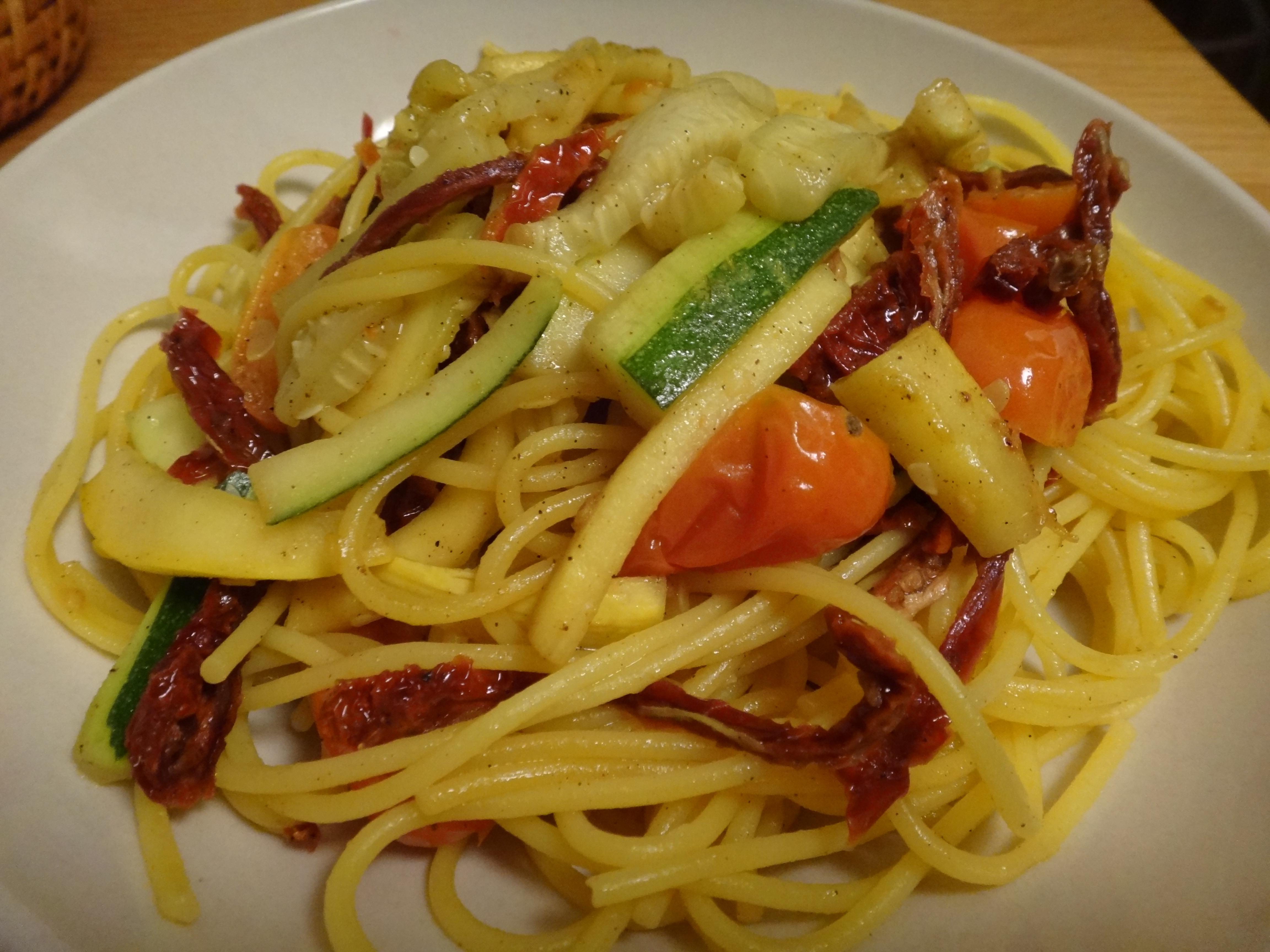 gluten free quinoa pasta with zucchini, summer squash, and ...