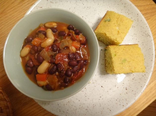black and white chili with low fat scallion chili cornbread