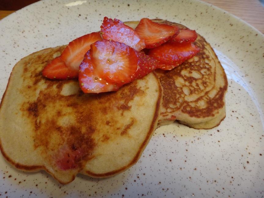 gluten free brown rice flour pancakes with strawberries