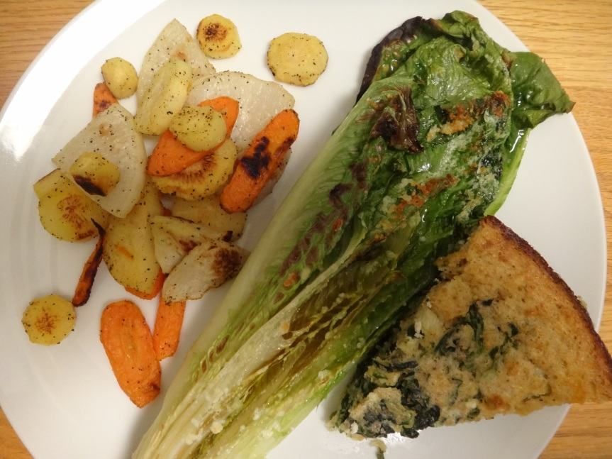 roasted veggies, broiled romaine, crustless spinach pie with feta cheese