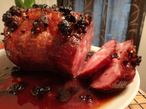 ham with five spice cherry sauce