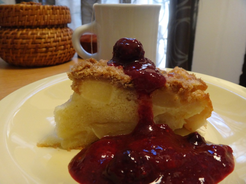 apple cake with mixed berry compote