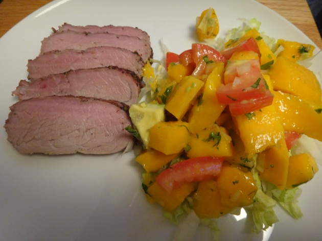jerk pork tenderloin with mango-avocado-tomato salsa