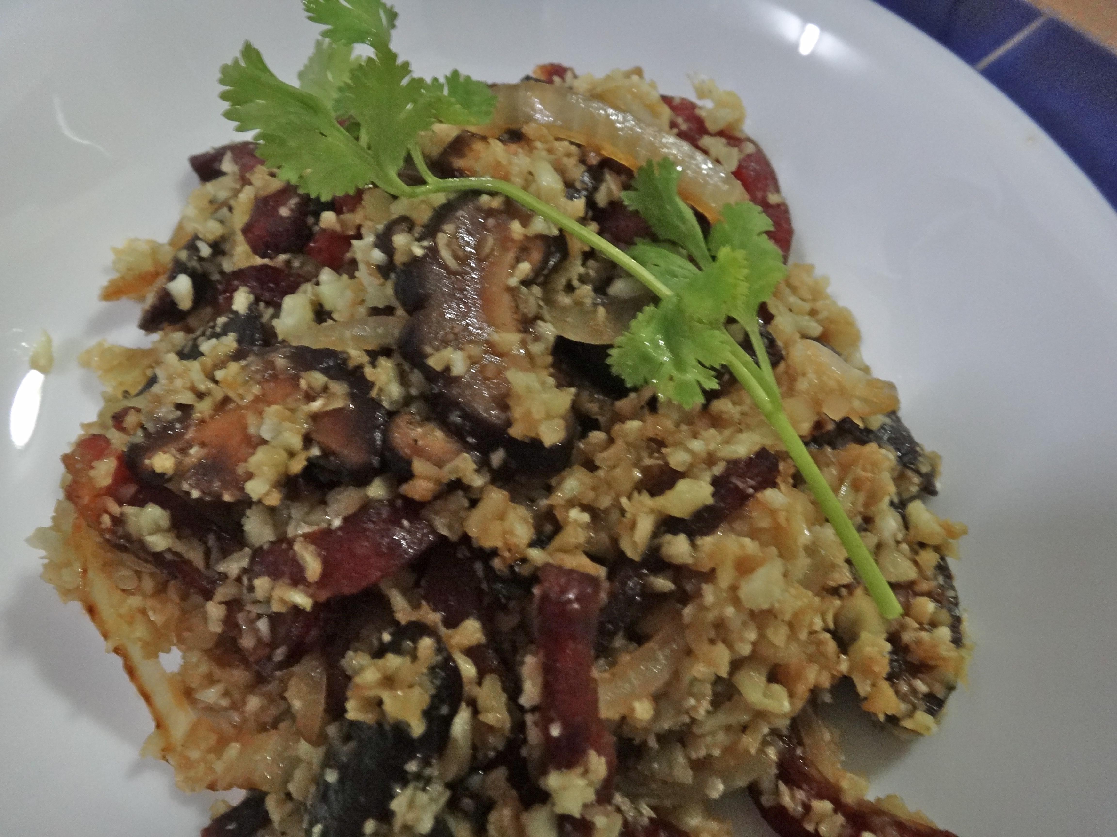 fried cauliflower rice with chinese sausage and seasoned shiitake ...
