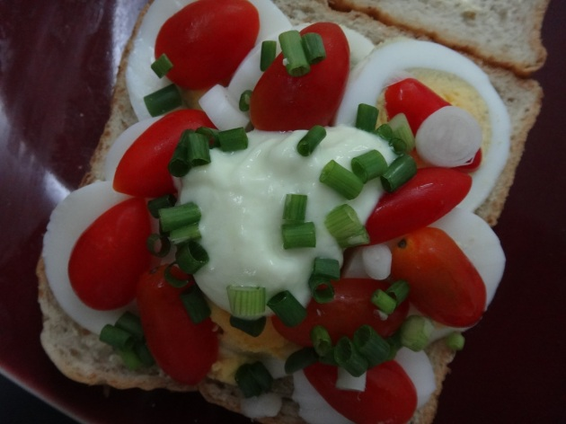 egg and tomato sandwich on whole wheat bread with wasabi ...