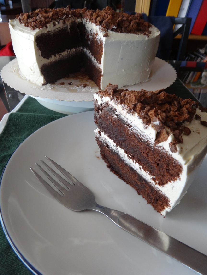 chocolate malt layer cake-foodie joanie